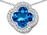 Original Star K Large Clover Pendant with 12mm Clover Cut Simulated Blue Topaz
