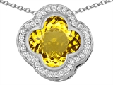 Star K™ Large Clover Pendant Necklace with 12mm Clover Cut Simulated Citrine style: 306769