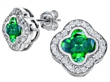 Original Star K Clover Earring Studs with 8mm Clover Cut Simulated Emerald