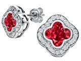 Original Star K™ Clover Earring Studs with 8mm Clover Cut Created Ruby