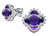Original Star K Clover Earring Studs with 8mm Clover Cut Simulated Amethyst