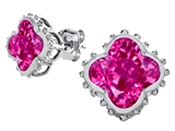 Star K™ Clover Earrings Studs with 8mm Clover Cut Created Pink Sapphire style: 306799