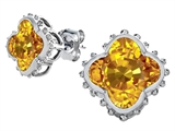 Star K™ Clover Earrings Studs with 8mm Clover Cut Simulated Citrine style: 306800