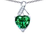 Original Star K™ 8mm Heart Shape Simulated Emerald Ribbon Pendant style: 306804