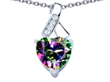 Original Star K™ 8mm Heart Shape Rainbow Mystic Topaz Ribbon Pendant