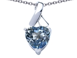 Star K™ 8mm Heart Shape Simulated Aquamarine Ribbon Pendant Necklace style: 306810
