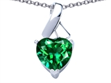 Original Star K™ 8mm Heart Shape Simulated Emerald Ribbon Pendant