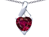 Star K™ 8mm Heart Shape Created Ruby Ribbon Pendant Necklace style: 306816