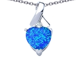 Star K™ 8mm Heart Shape Blue Created Opal Ribbon Pendant Necklace style: 306819