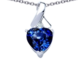 Original Star K 8mm Heart Shape Created Sapphire Ribbon Pendant