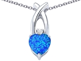Star K™ 8mm Heart Shape Blue Created Opal Cross Heart Pendant Necklace style: 306827