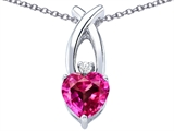 Star K™ 8mm Heart Shape Created Pink Sapphire Cross Heart Pendant Necklace style: 306831