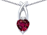Original Star K™ 8mm Heart Shape Created Ruby Cross Heart Pendant