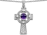 Celtic Love by Kelly Celtic Cross pendant with 7mm Round Genuine Amethyst