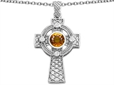 Celtic Love by Kelly Celtic Cross pendant with 7mm Round Genuine Citrine