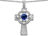 Celtic Love by Kelly Celtic Cross pendant with 7mm Round Created Sapphire