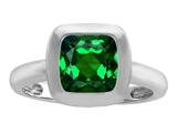 Star K™ 8mm Cushion Cut Solitaire Ring With Simulated Emerald style: 306860