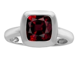 Original Star K™ 8mm Cushion Cut Solitaire Ring With Simulated Garnet style: 306861
