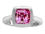 Original Star K™ 8mm Cushion Cut Solitaire Ring With Created Pink Sapphire style: 306863