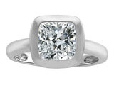 Original Star K 8mm Cushion Cut Solitaire Engagement Ring With Genuine White Topaz