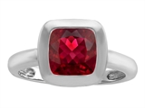 Original Star K™ 8mm Cushion Cut Solitaire Engagement Ring With Created Ruby