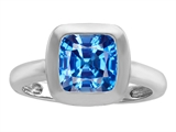 Original Star K 8mm Cushion Cut Solitaire Engagement Ring With Genuine Blue Topaz