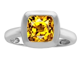 Original Star K™ 8mm Cushion Cut Solitaire Ring With Simulated Citrine style: 306871
