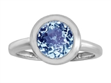 Original Star K 8mm Round Solitaire Engagement Ring With Simulated Aquamarine