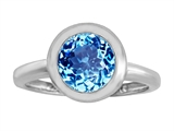 Original Star K 8mm Round Solitaire Engagement Ring With Genuine Blue Topaz