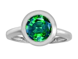 Original Star K 8mm Round Solitaire Engagement Ring With Simulated Emerald