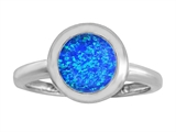 Original Star K 8mm Round Solitaire Engagement Ring With Created Blue Opal