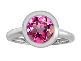 Original Star K 8mm Round Solitaire Engagement Ring With Created Pink Sapphire