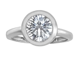 Original Star K 8mm Round Solitaire Engagement Ring With Genuine White Topaz