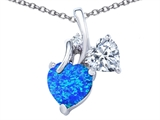 Original Star K 8mm Heart Shape Created Blue Opal Double Hearts Pendant