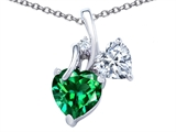 Original Star K 8mm Heart Shape Simulated Emerald Double Hearts Pendant