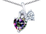 Original Star K 8mm Heart Shape Mystic Topaz Double Hearts Pendant