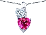 Original Star K 8mm Heart Shape Created Pink Sapphire Double Hearts Pendant