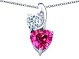 Original Star K™ 8mm Heart Shape Created Pink Sapphire Double Hearts Pendant style: 306901