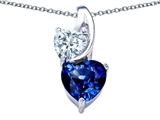 Original Star K™ 8mm Heart Shape Created Sapphire Double Hearts Pendant style: 306903