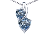 Original Star K 8mm Heart Shape Simulated Aquamarine Double Hearts Pendant