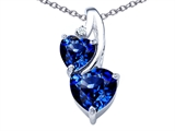 Original Star K 8mm Heart Shape Created Sapphire Double Hearts Pendant