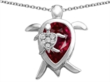 Star K™ Large Mother and Baby Turtle family Pendant Necklace with 12x8mm Pear Shape Created Ruby style: 306912