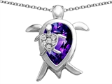 Original Star K™ Large Mother and Baby Turtle family Pendant with 12x8mm Pear Shape Simulated Amethyst