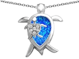Star K™ Large Mother and Baby Turtle family Pendant Necklace Pear Shape Blue Created Opal and Cubic Zirconia style: 306917