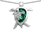 Star K™ Large Mother and Baby Turtle family Pendant Necklace with 12x8mm Pear Shape Simulated Emerald style: 306921