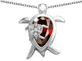 Star K™ Large Mother and Baby Turtle family Pendant Necklace with 12x8mm Pear Shape Simulated Garnet style: 306922