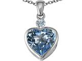 Star K™ 10mm Heart Shape Simulated Aquamarine Heart Pendant Necklace style: 306924
