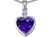 Star K™ 10mm Heart Shape Simulated Amethyst Heart Pendant Necklace style: 306925