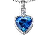 Star K™ 10mm Heart Shape Simulated Blue Topaz Heart Pendant Necklace style: 306926