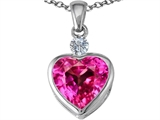 Star K™ 10mm Heart Shape Created Pink Sapphire Heart Pendant Necklace style: 306933